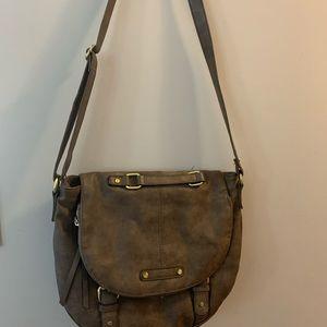 "Brown ""leather"" cross body bag"